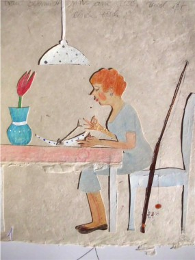 Frau Schmidt sitzt am Tisch und ißt einen Fisch.  35 x 50  cm
